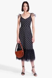 STAUD-MARWA-POLKA DOT DRESS Black