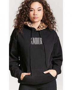 Faux Fur Amour Graphic Hoodie; Forever21, $23