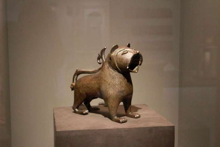 "This photo taken Wednesday, March 4, 2015 shows the Lion of Monzon, a rare example of Andalusian metalwork from the 12th century housed in the Louvre is on exhibit at the Mohammed VI Museum of Modern and Contemporary art in Rabat, Morocco. The ""Medieval Morocco: An Empire of Africa and Spain"" brings together Islamic Art from a dozen museums and will be exhibited in Rabat until June 3. (AP Photo/ Paul Schemm)The Associated Press"