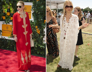 Ashley Olsen in a Red moroccan Caftan. (R) Rachel Zoe in a White Caftan.