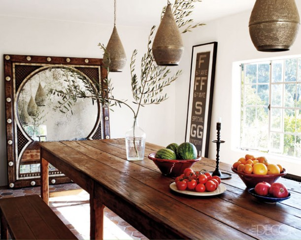 Ellen Pompeo Moroccan Style Dining Room. Photo Credit: Elle Decor