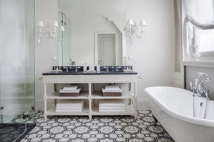 Cream And Gray Moroccan Tile Floor Cream Double Vanity