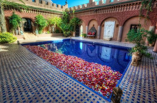 Moroccan tiles in pool