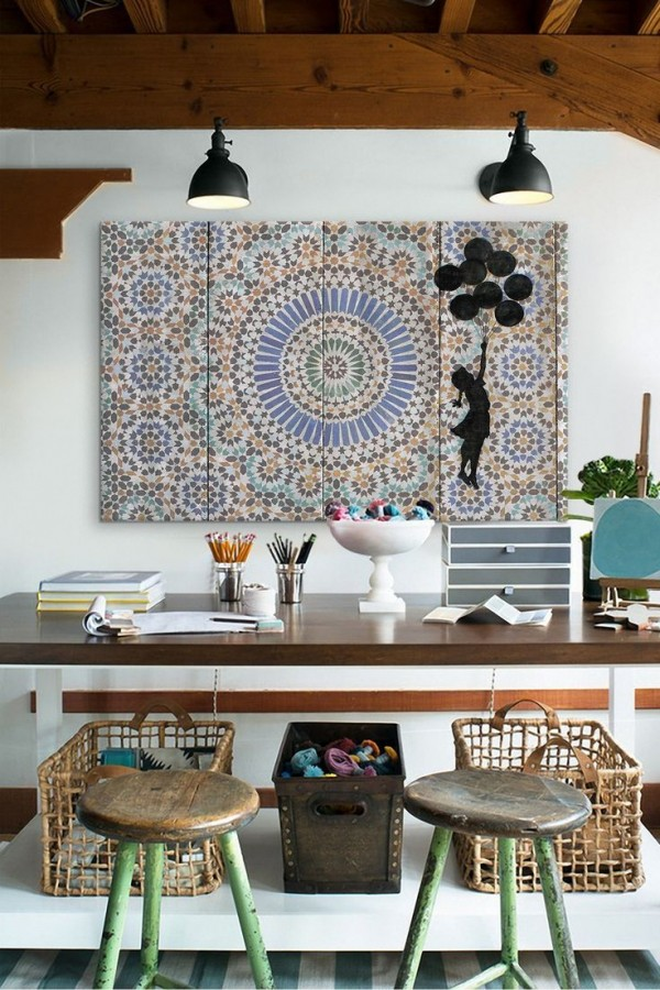 Bohemian Office with a Moroccan Tile Wall Art, Image source: interiorsbystudiom