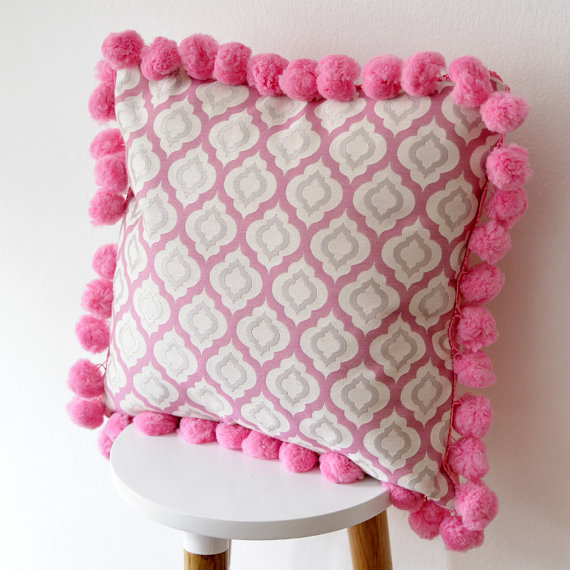 Pink Moroccan Pillow with Pom pom Pillow for kids and Nursery Decor, Shop this item HERE