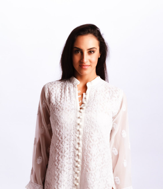 white tunic Embroidered Chiffon Georgette, Shop this item HERE