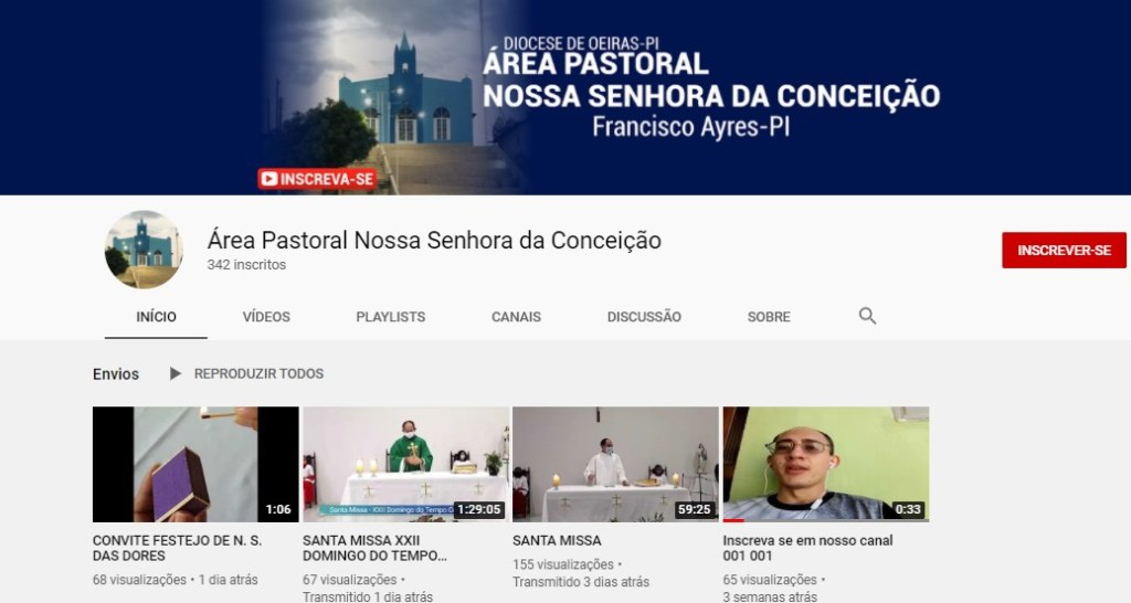 canal youtube Paróquia de Francisco Ayres cria canal oficial no Youtube e precisa alcançar 1 mil inscritos