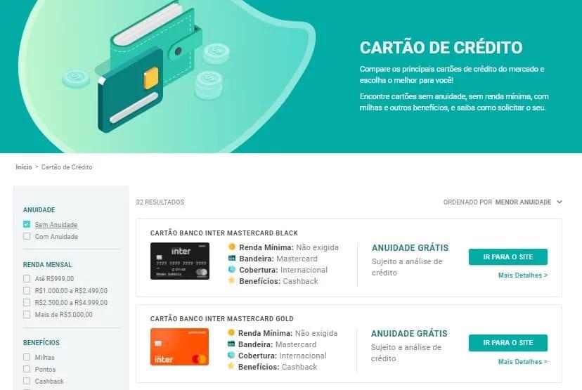 Comparador gratuito de cartões de crédito