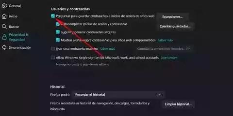 Por seguridad evita que el navegador web almacene tus contraseñas
