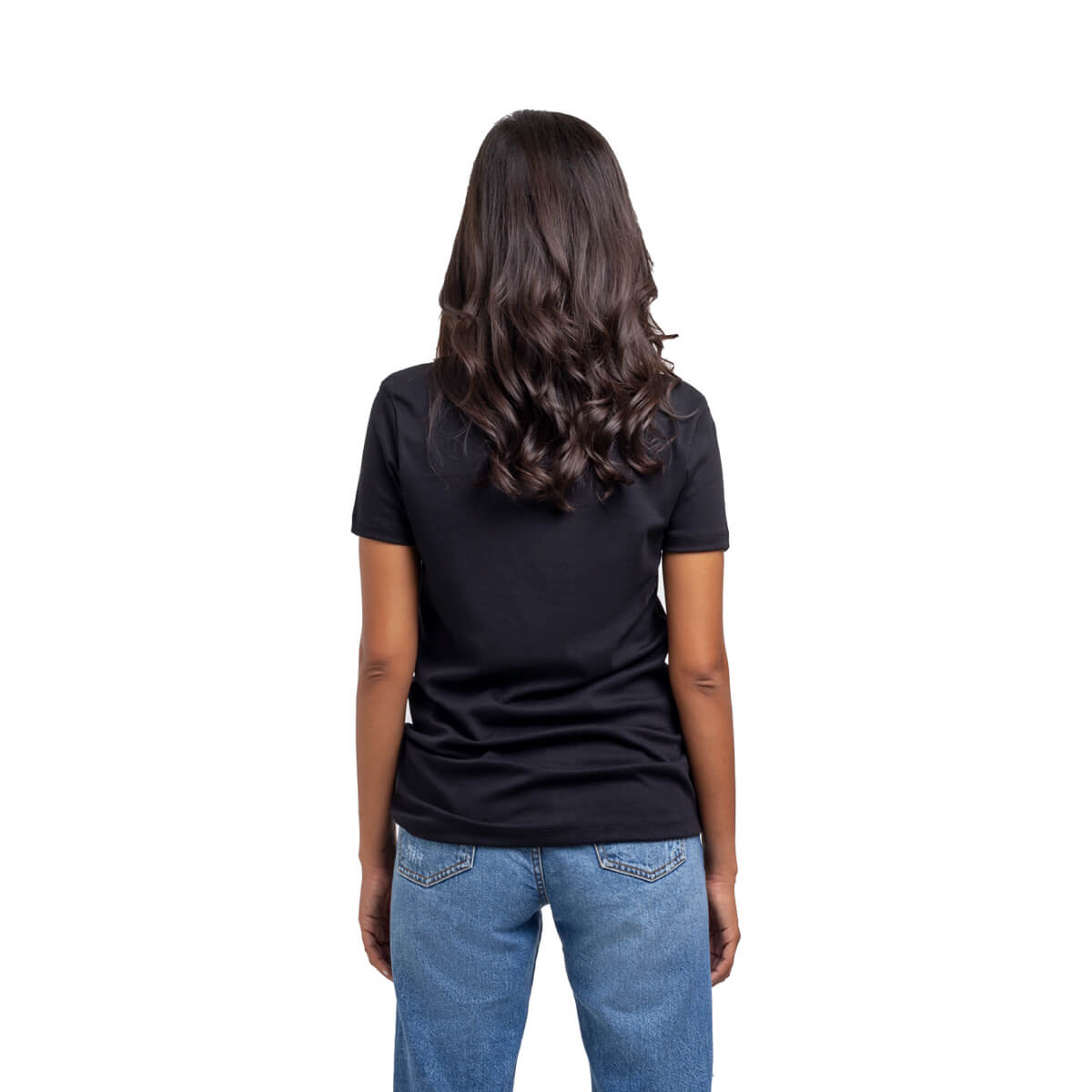 Franela esencial cuello redondo negra dama espalda