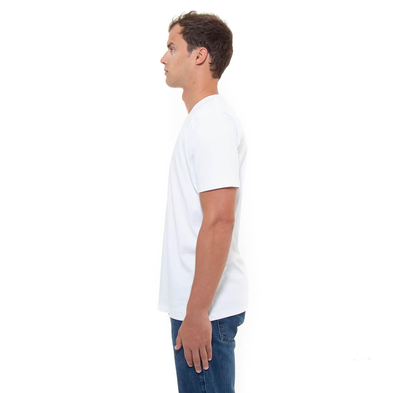 Franela blanca esencial para hombre cuello en V Verticales lado