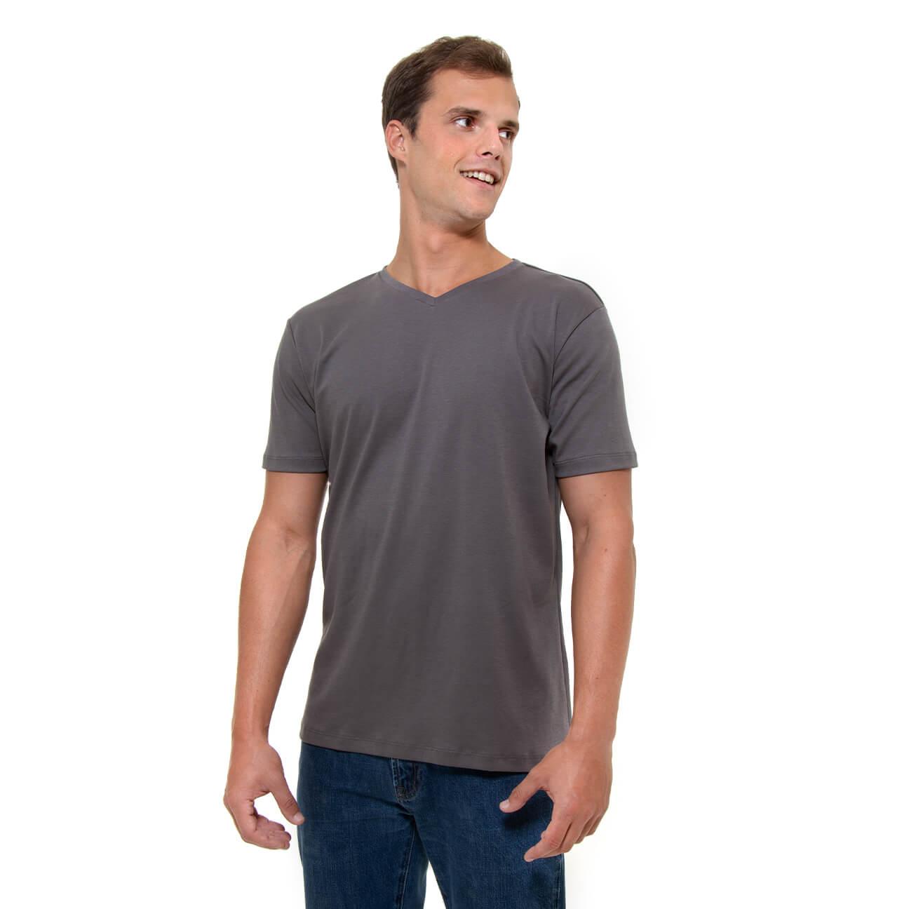 Franela gris esencial para hombre cuello en V Veticales frente