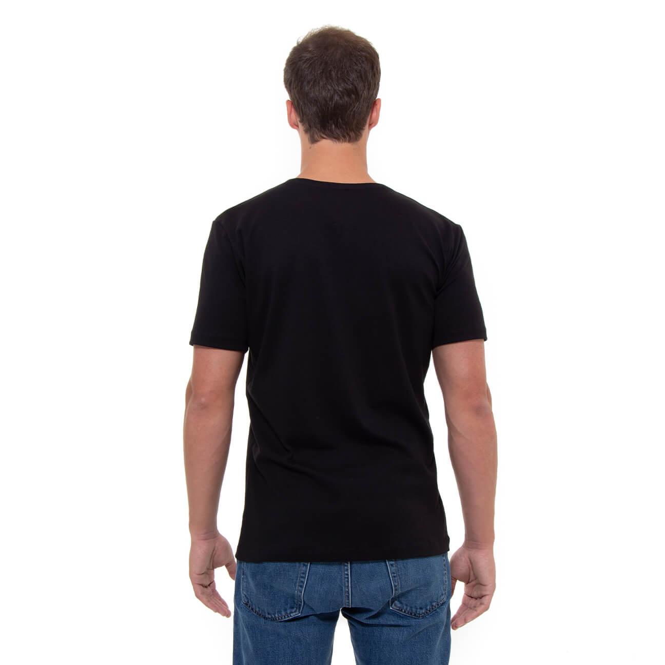 Franela negra esencial para hombre cuello en V Verticales espalda