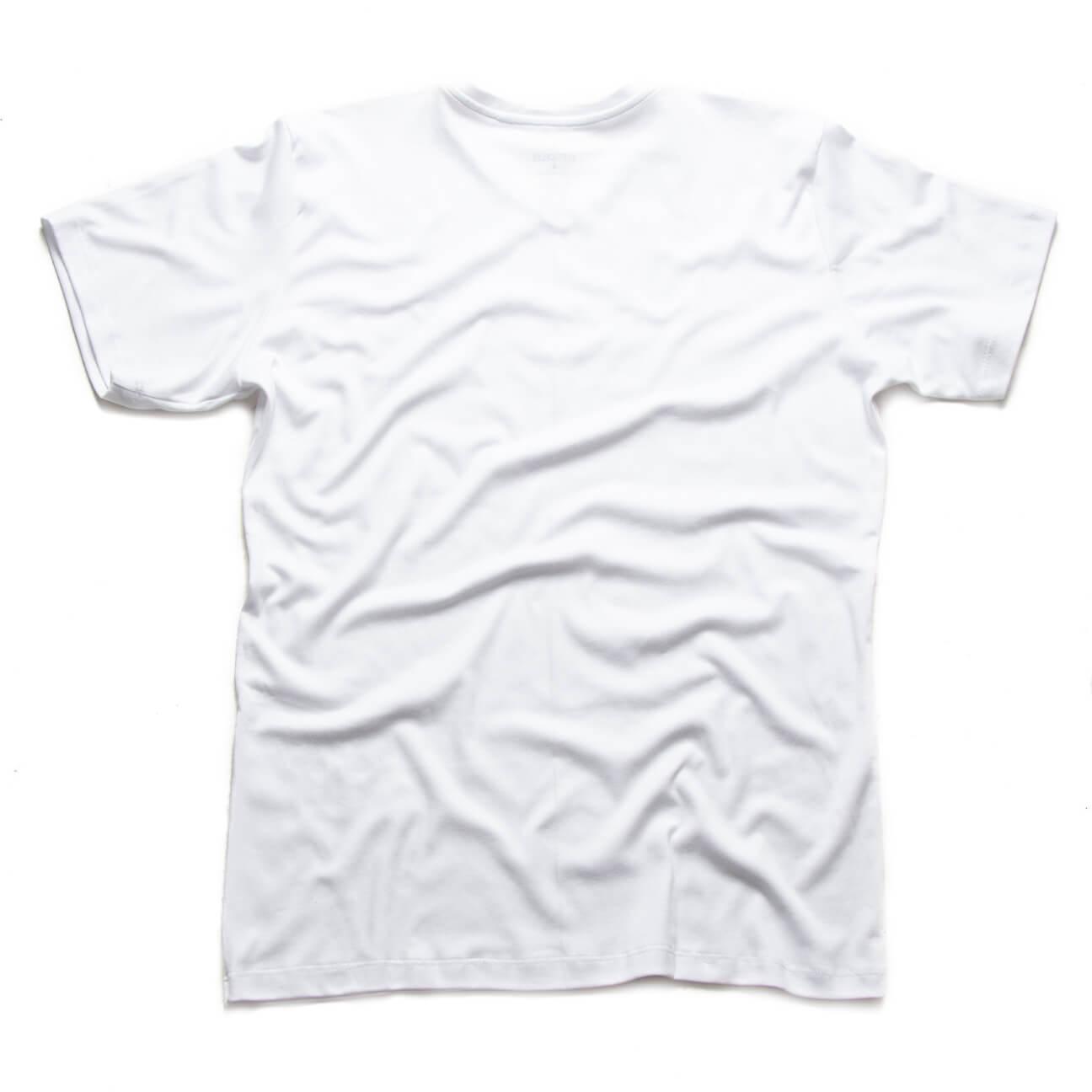 Verticales - Franela blanca esencial cuello en V espalda