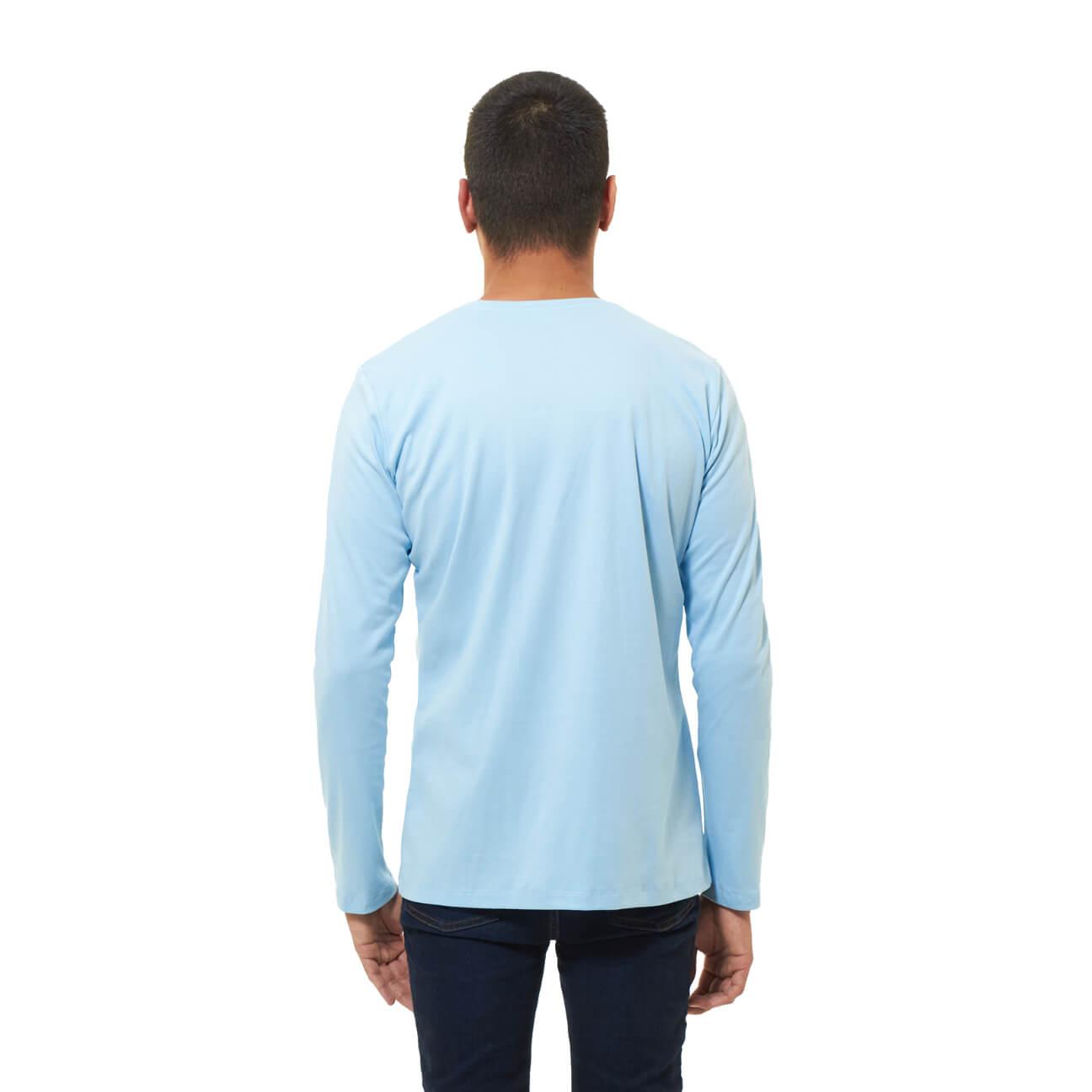 Franela basica caballero manga larga azul claro espalda
