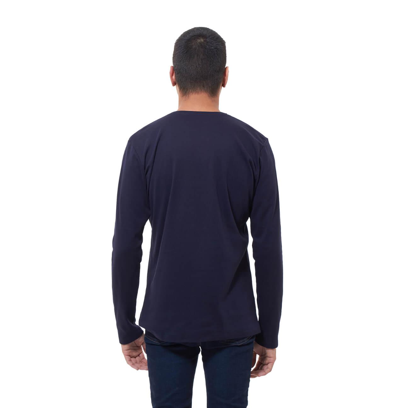 Franela basica caballero manga larga azul ozcuro espalda