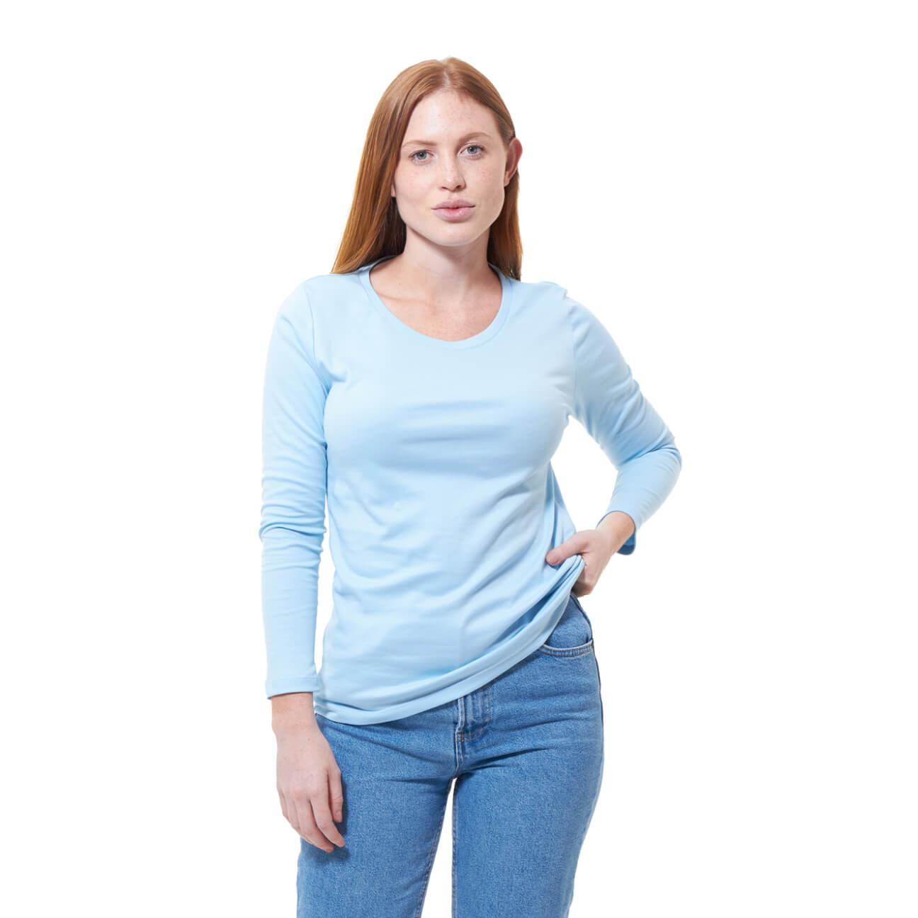 Franela basica dama manga larga azul claro