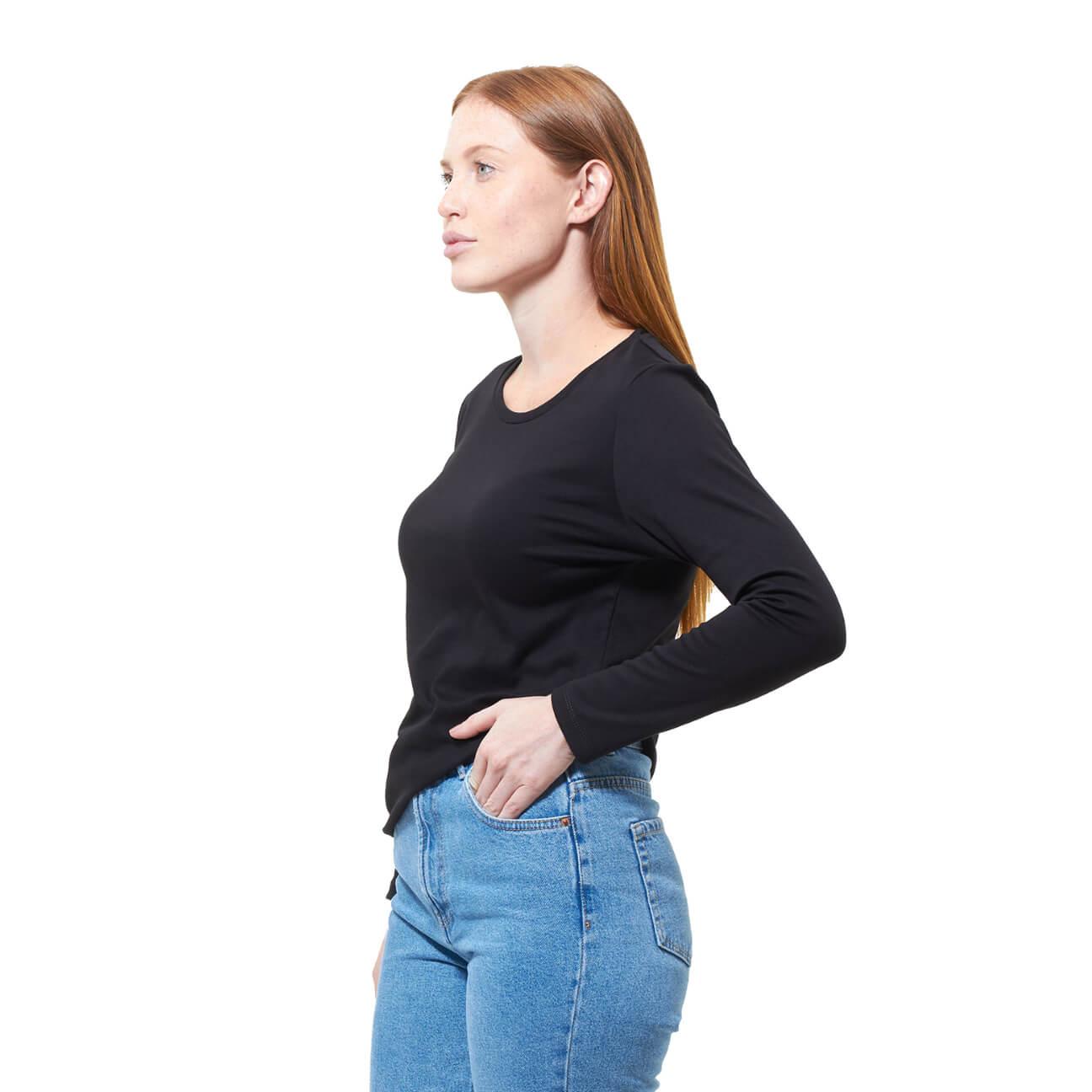 Franela basica dama manga larga negra lado