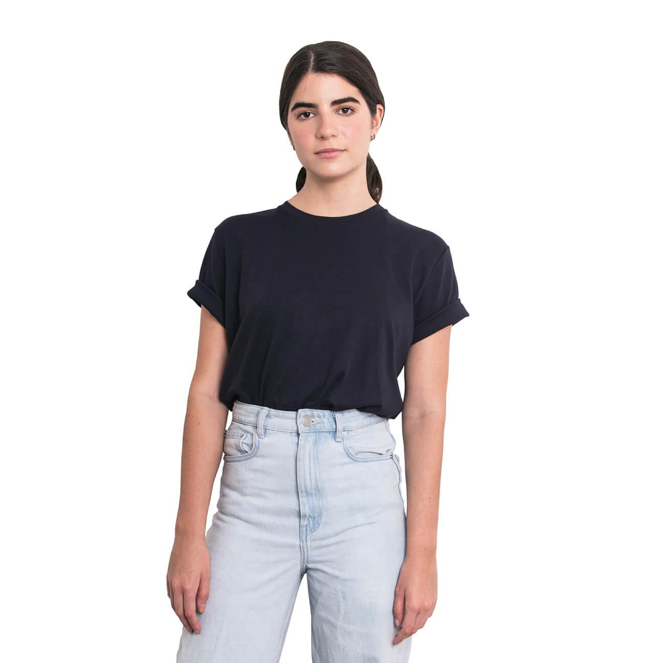 Boyfriend shirt básica azul oscura verticales frente