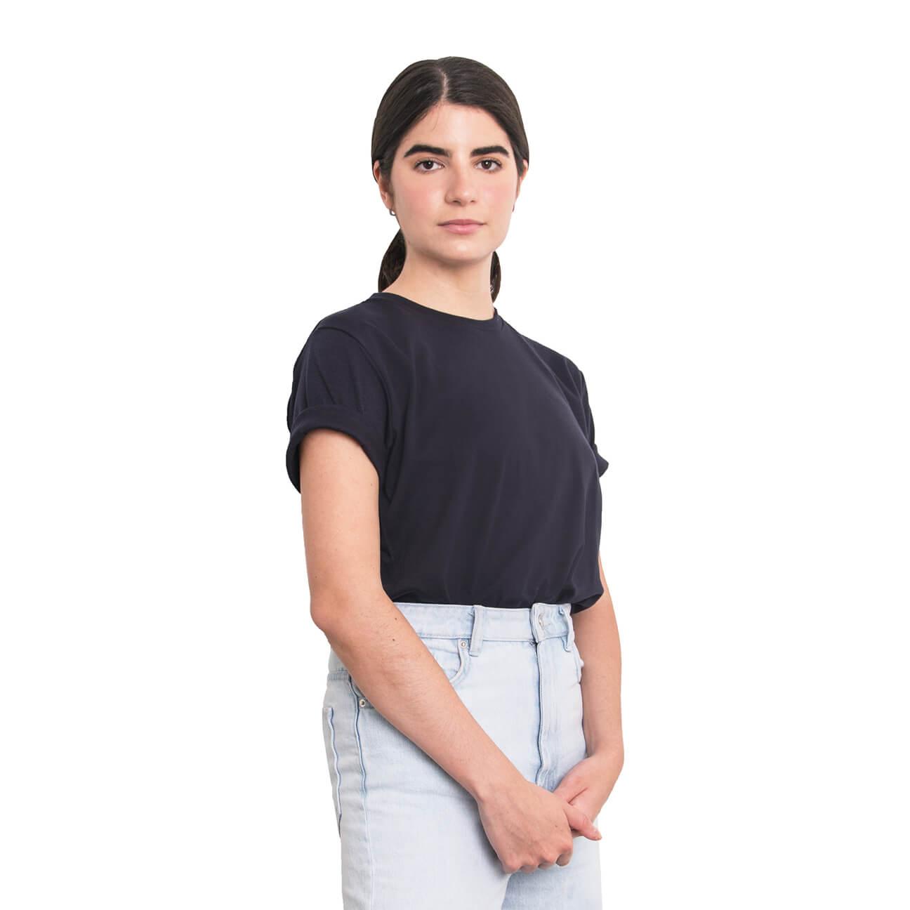 Boyfriend shirt básica azul oscura verticales lado