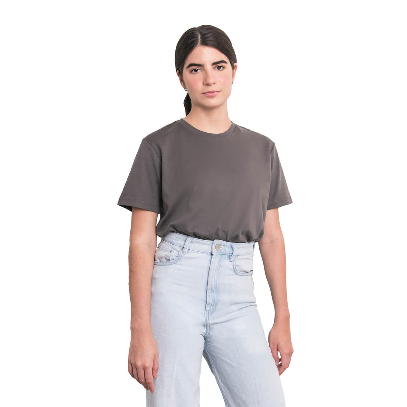 Boyfriend shirt básica gris verticales frente