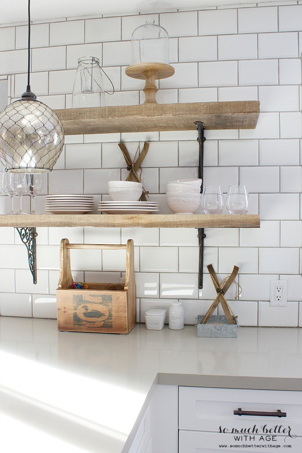 wood shelves kitchen island with trash can rustic industrial so much better age close up picture of the brackets