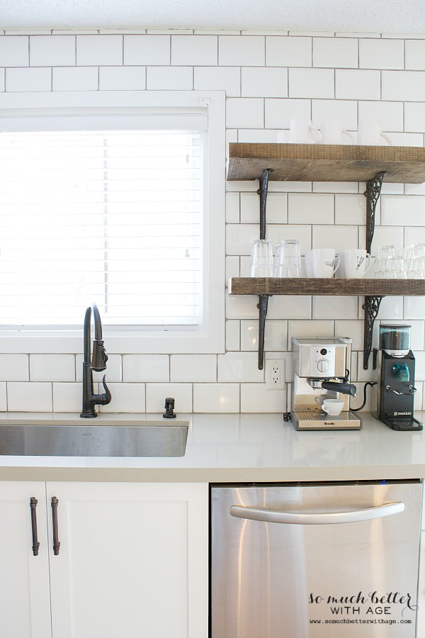wood shelves kitchen cutler and bath rustic industrial so much better with age white subway tile