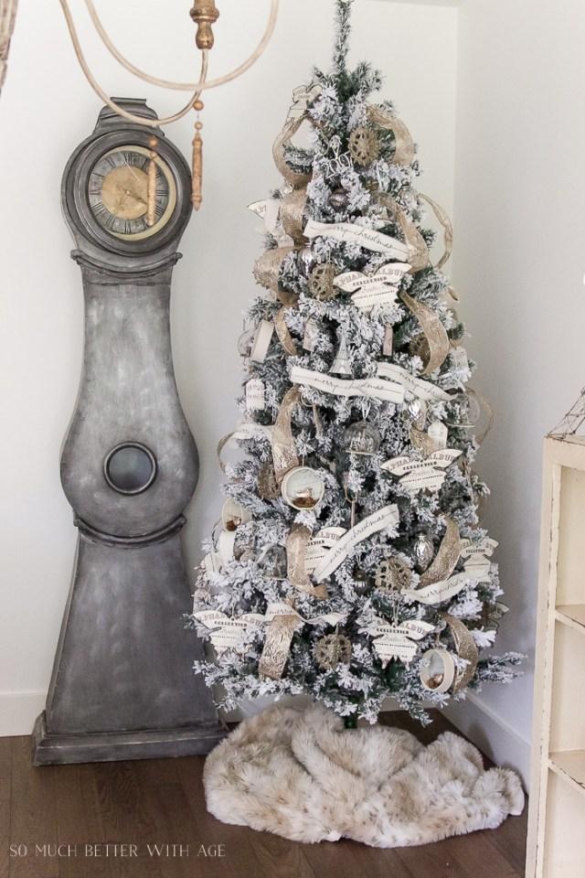 flocked christmas tree neutral decor mora clock 103