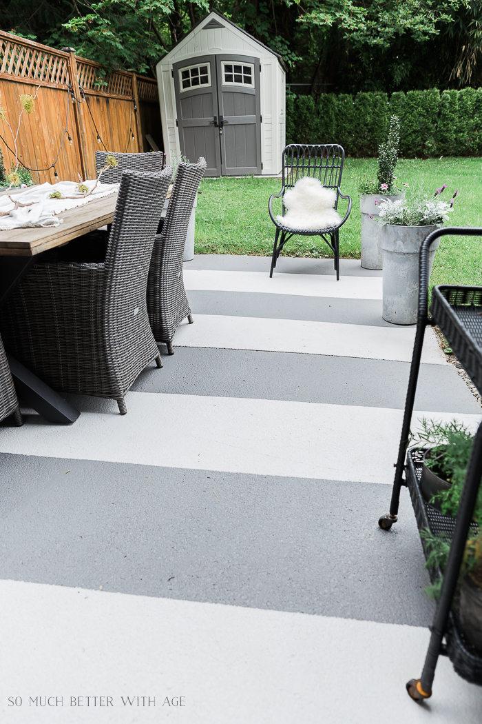 Painted Concrete Slab and Brick Pavers One Year Later - So Much Better With Age