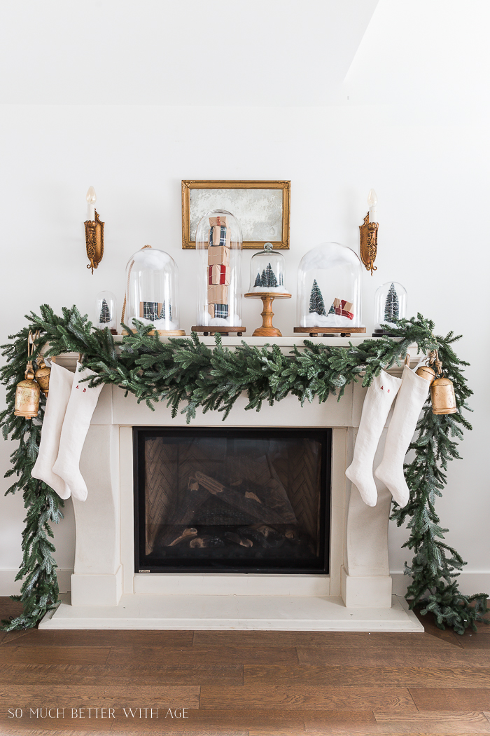 Christmas Mantel Decor with Snow Globe Cloches  So Much