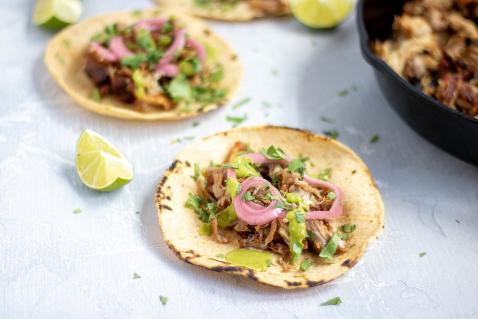beer braised carnitas tacos