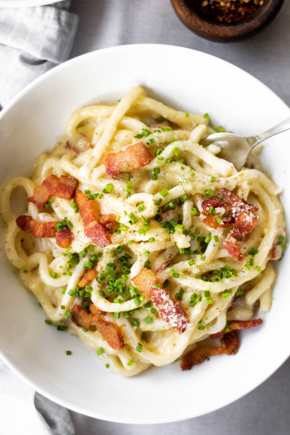 easy weeknight udon carbonara