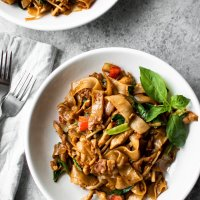 drunken noodles (pad kee mao) with chicken