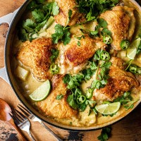 one-pan coconut milk-braised chicken