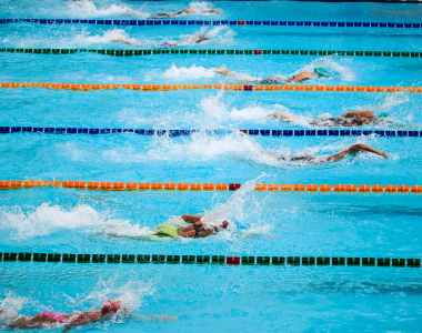 people doing swim race