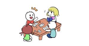 卓を囲んで話している図
