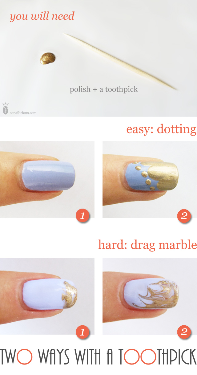 Easy Nail Designs Using A Toothpick