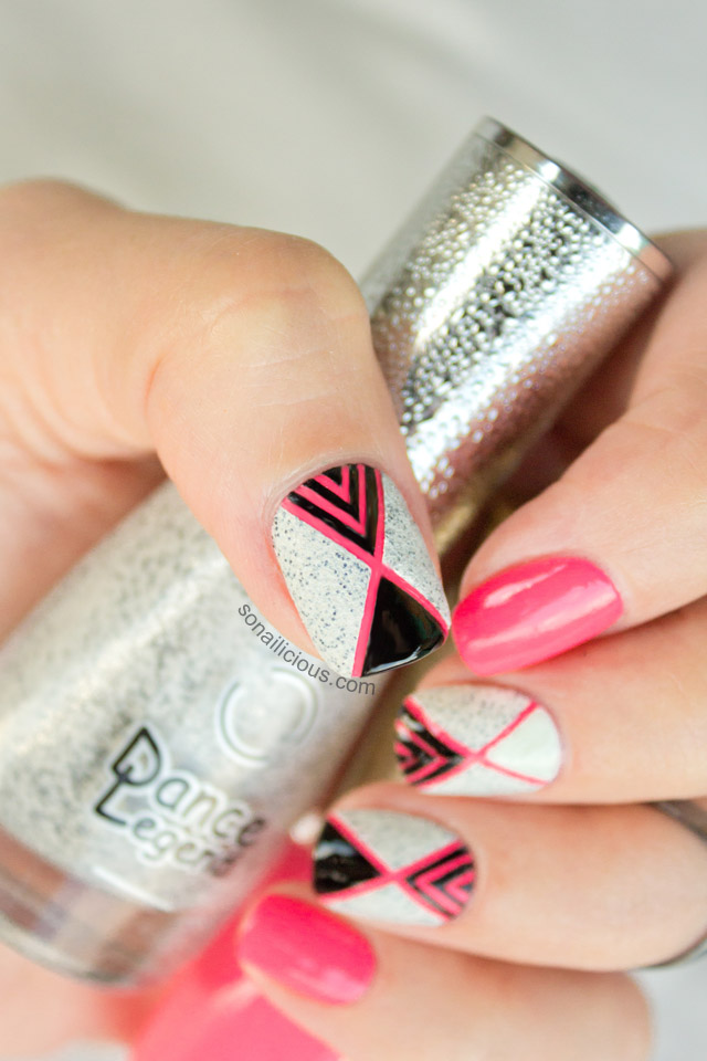 Neon Pink Nail Art Black And White