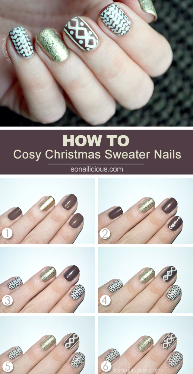 Christmas Sweater Nails Tutorial