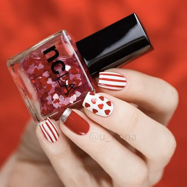 Red And White Valentine S Day Nails By U Nona