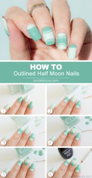 outlined moon manicure - tutorial