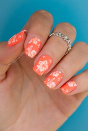 hawaiian flower nail art tutorial
