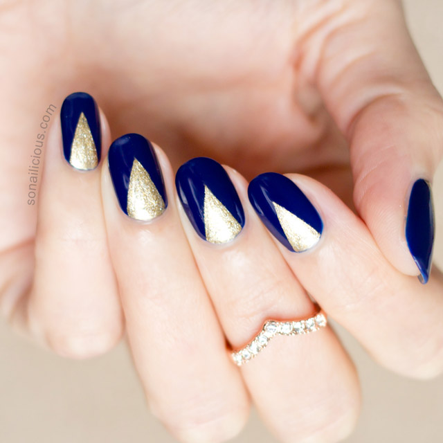Navy Blue French Tip Nail Art With White Flowers