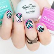 aztec nail design short nails