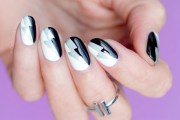 graphic black and white nail art