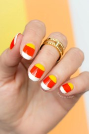 candy corn nails halloween