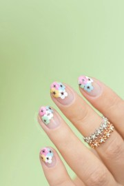 negative space floral nail art