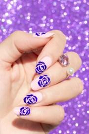 effortless purple roses nail art