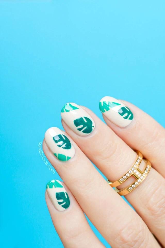 tropical nails, palm leaves nail art