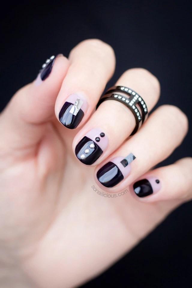 black nail design, black nails